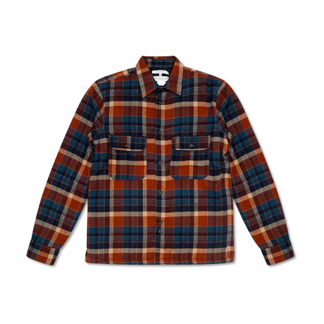 Omaha Brushed Flannel Checked Shirt // Navy (S)