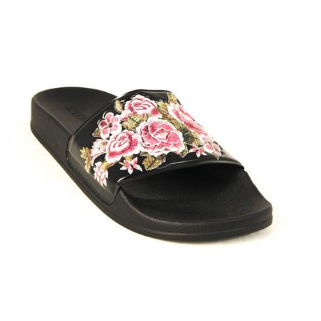 Slide Sandals // Black + Pink (Euro: 35)
