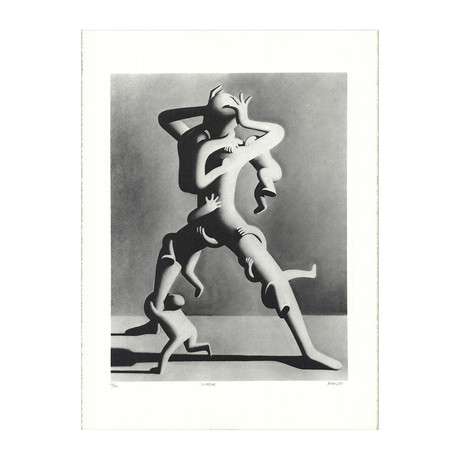 Mark Kostabi // Climbing // 1988 Lithograph // SIGNED