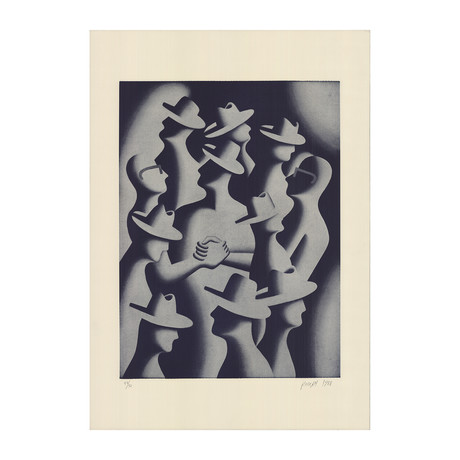Mark Kostabi // Merger And Acquisitions, 1988 // 1989 Lithograph // SIGNED