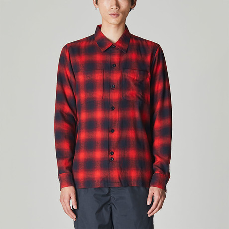 Merrick Brushed Flannel Checked Shirt // Red (S)
