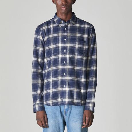 Vallegrande Brushed Flannel Check Shirt // Navy (S)