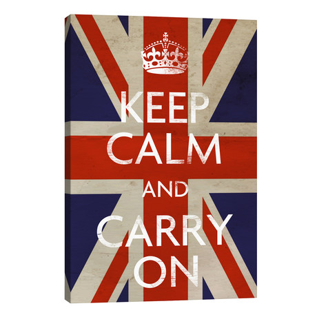 "Keep Calm & Carry on (British Flag) // Unknown Artist (26""W x 40""H x 1.5""D)"