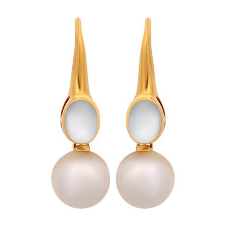 Assael 18k Yellow Gold Moonstone + Pearl Earrings I