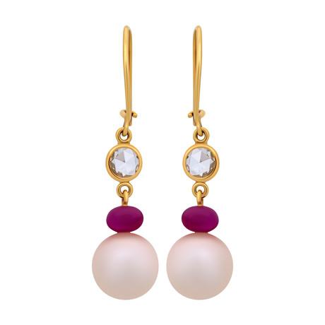 Assael 18k Yellow Gold Diamond + Ruby Earrings