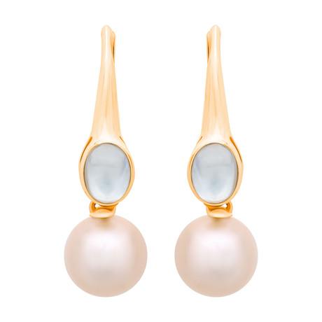 Assael 18k Yellow Gold Moonstone + Pearl Earrings V