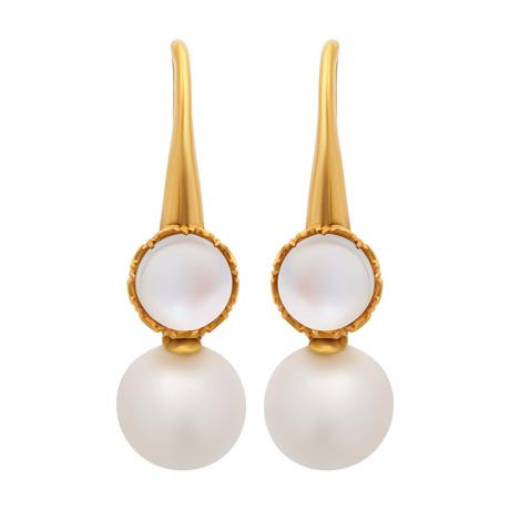 Assael 18k Yellow Gold Moonstone + Pearl Earrings VI
