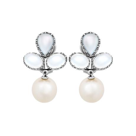 Assael 18k White Gold Moonstone + Pearl Earrings II