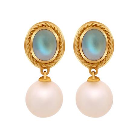 Assael 18k Yellow Gold Moonstone + Pearl Earrings IV