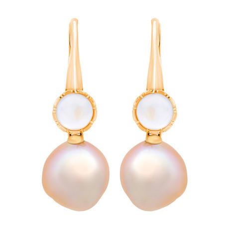 Assael 18k Yellow Gold Moonstone + Pearl Earrings III