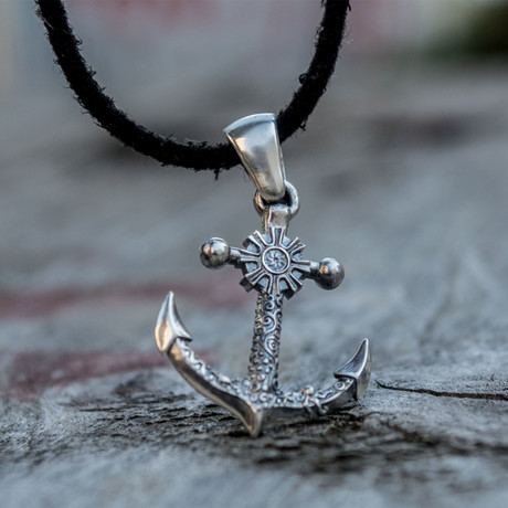 Big Anchor + Shipwheel Pendant // Silver