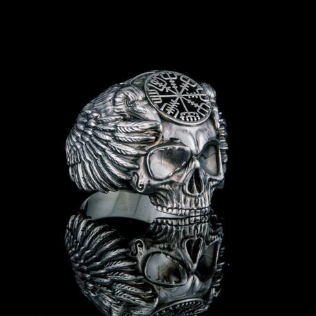 Odin + Vegvisir Ring // Silver (6)