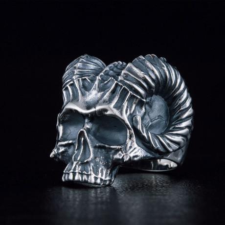 Skull + Horns Biker Ring // Silver (6)