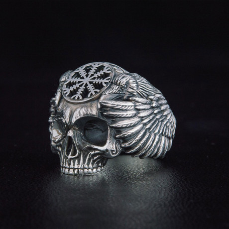 Odin + Helm of Awe Symbol Ring // Silver (6)