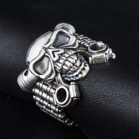 Biker Skull Ring V2 // Silver (6)