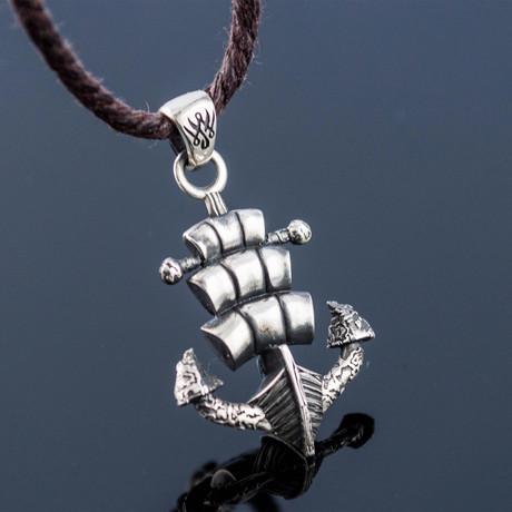 Anchor + Drakkar Pendant // Silver