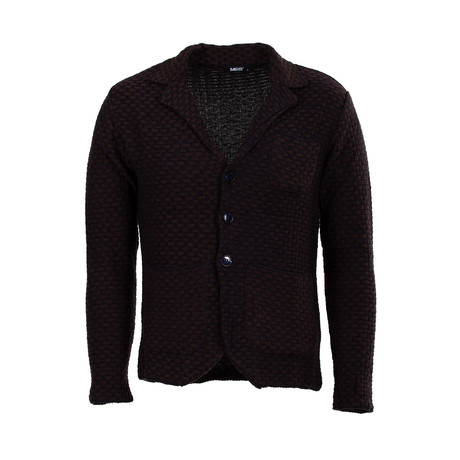 Chas Tricot Cardigan // Dark Blue + Brown (S)