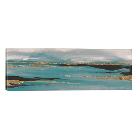 "Gilded Storm Teal Grey II // Chris Paschke (60""W x 20""H x 0.75""D)"