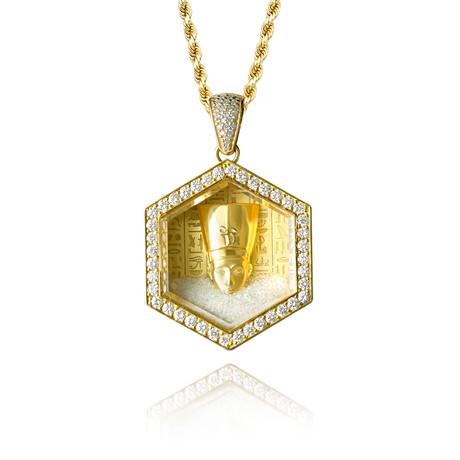 White Diamond Floating Pharaoh Pendant // Yellow Gold