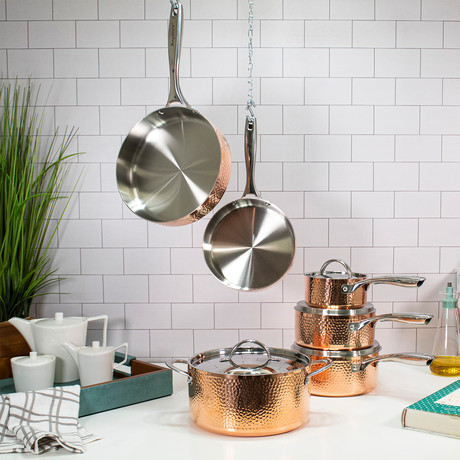Copper // Tri-Ply Cookware 10-Piece Set // Hammered
