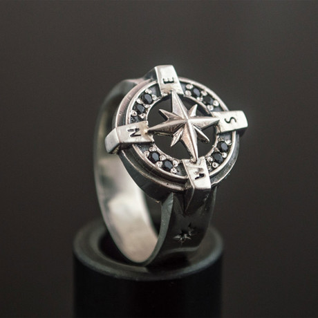 Compass Ring // Silver + Black (6)