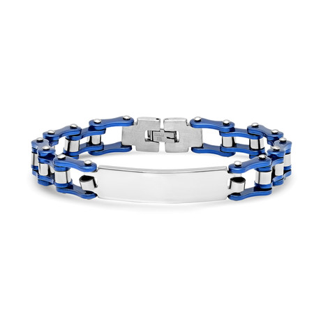 Bicycle Chain Link ID Bracelet // Silver + Blue