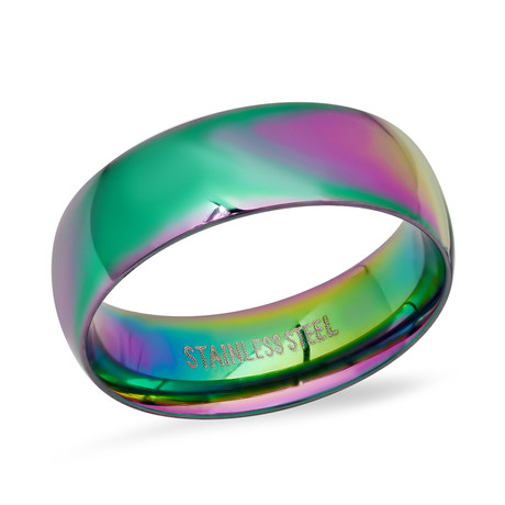 Stainless Steel Band Ring // Multicolor (Size 6)