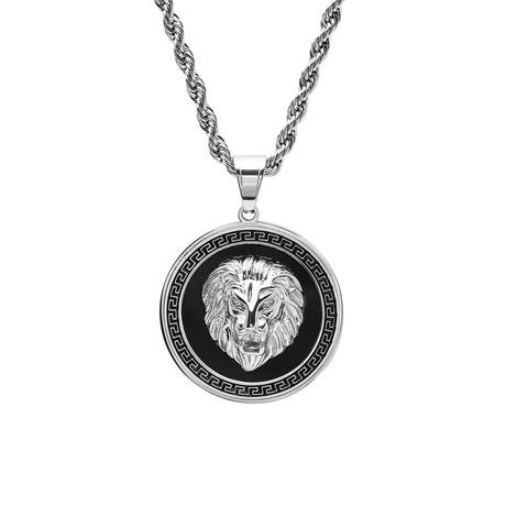 Simulated Diamond Lion Head + Greek Key Pendant Necklace // Metallic + Black