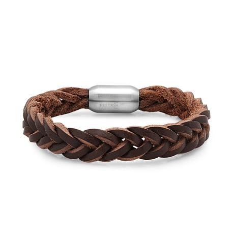 Braided Leather Bracelet // Brown