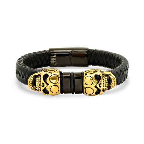 Braided Leather + Skull Accent Bracelet // Black + Yellow