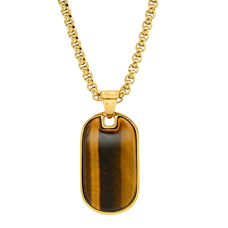 Stainless Steel + Tiger Eye Dog Tag Pendant // Yellow