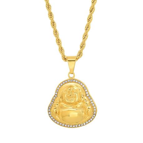 Simulated Diamond Buddha Pendant Necklace // Yellow
