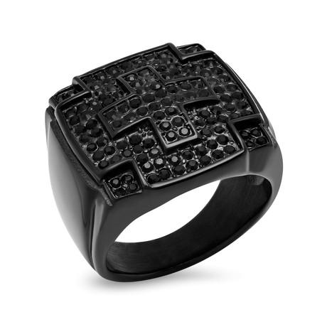 Simulated Diamond Cross Ring // Black (Size 9)