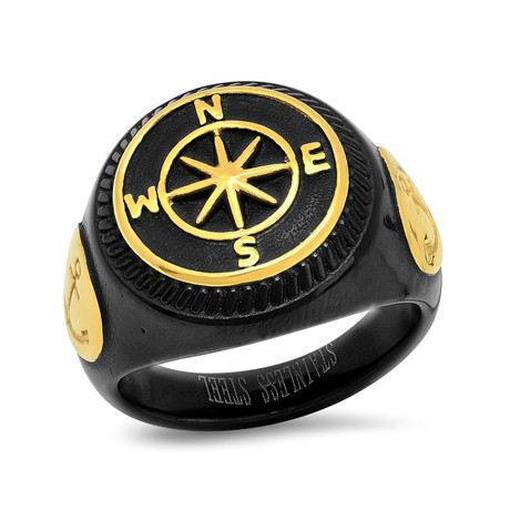 Anchor + Compass Ring // Black + Yellow (Size 9)