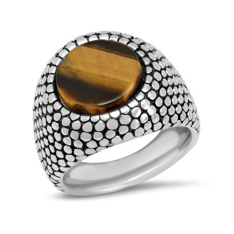 Stainless Steel + Tiger Eye Ring // Metallic + Brown (Size 9)