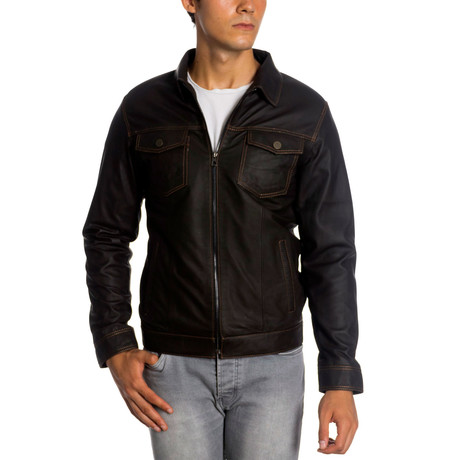 Bo Leather Jacket // Brown (XS)