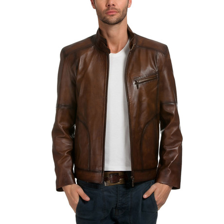 Roberto Leather Jacket // Brown (XS)