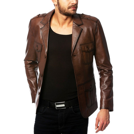 Tongo Leather Jacket // Brown (XS)