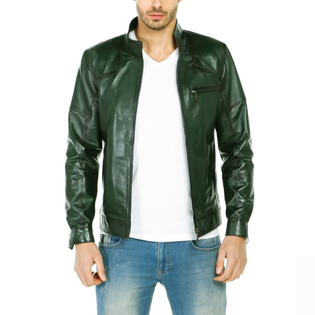Claude Leather Jacket // Green (XS)