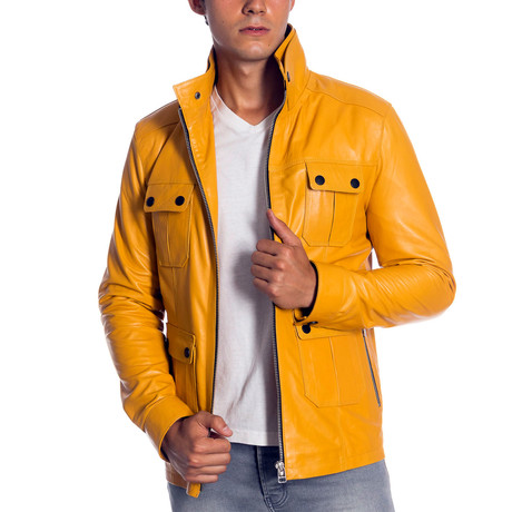 Montel Leather Jacket // Yellow (XS)