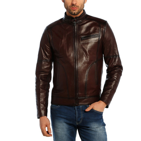 Callum Leather Jacket // Brown (XS)