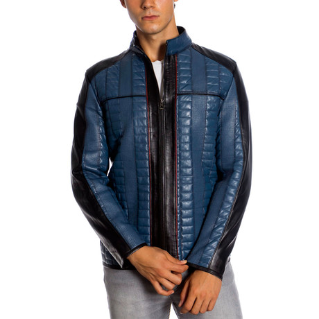 Preston Leather Jacket // Blue (XS)