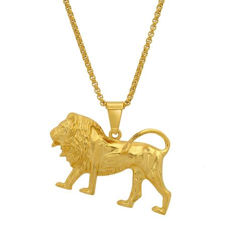 Lion Pendant + Chain // Gold