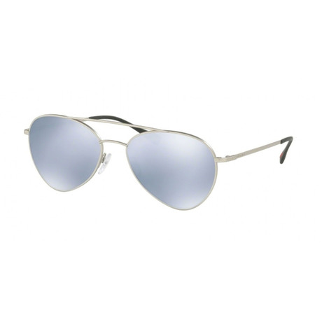 Prada // Men's Sunglasses // Matte Silver + Blue Mirror