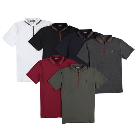 Pack of 6 // Zipper T-Shirts // Assorted (Small)