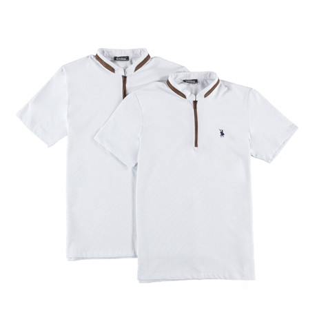 Pack of 2 // Zipper T-Shirts // White + White (Small)