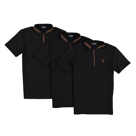 Pack of 3 // Zipper T-Shirts // Black (Small)