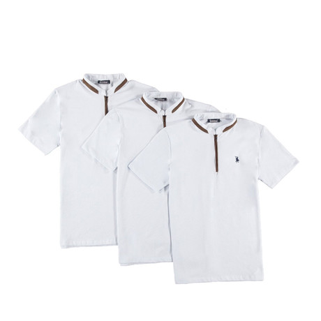 Pack of 3 // Zipper T-Shirts // White (Small)