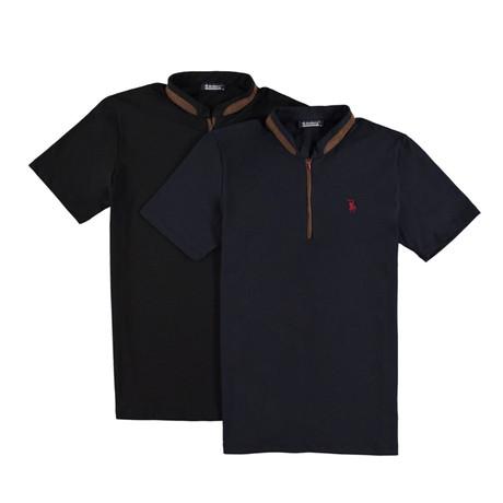 Pack of 2 // Zipper T-Shirts // Dark Blue + Black (Small)
