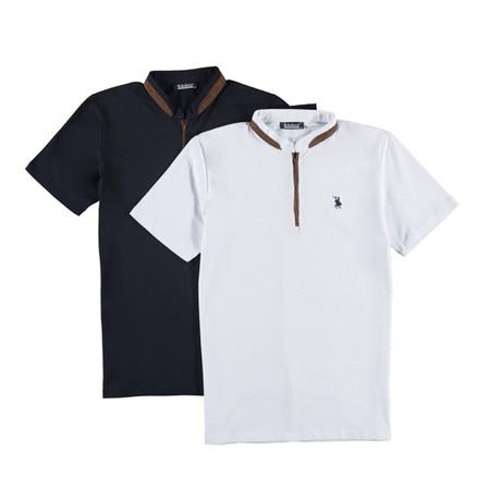 Pack of 2 // Zipper T-Shirts // White + Dark Blue (Small)